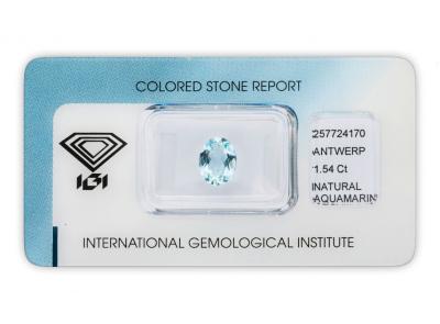 akvamarín 1.54ct blue s IGI certifikátem