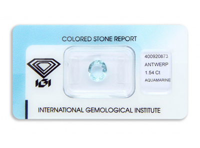 akvamarín 1.54ct greenish blue s IGI certifikátem
