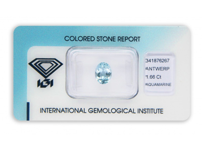 akvamarín 1.66ct blue s IGI certifikátem