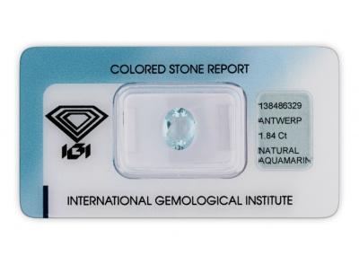 akvamarín 1.84ct light blue s IGI certifikátem