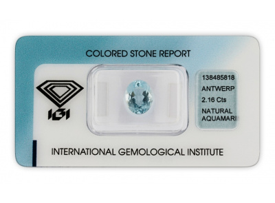 akvamarín 2.16ct light blue s IGI certifikátem