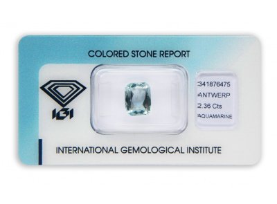 akvamarín 2.36ct light blue s IGI certifikátem