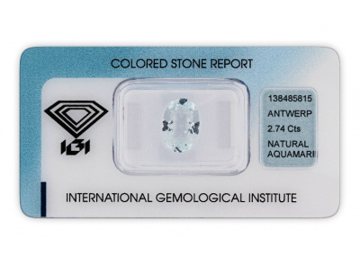 akvamarín 2.74ct very light blue s IGI certifikátem