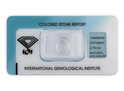 akvamarín 2.78ct light green s IGI certifikátem