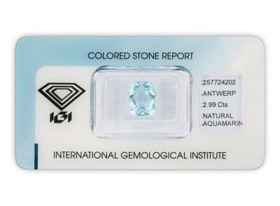 akvamarín 2.99ct blue s IGI certifikátem