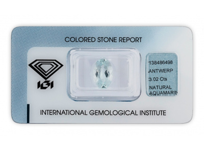 akvamarín 3.02ct light greenish blue s IGI certifikátem