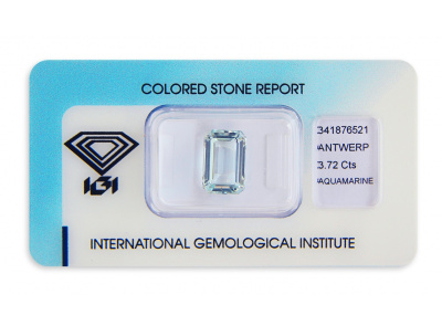akvamarín 3.72ct very light blue s IGI certifikátem