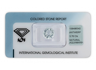 akvamarín 3.76ct very light blue s IGI certifikátem