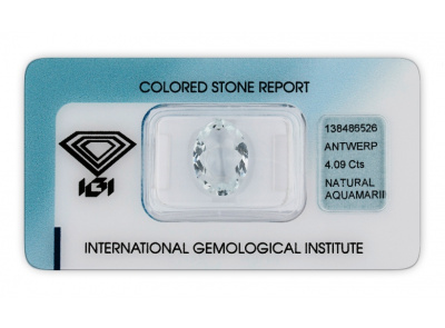 akvamarín 4.09ct light blue s IGI certifikátem
