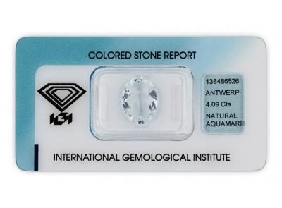 akvamarín 4.09ct light blue s IGI certifikátem