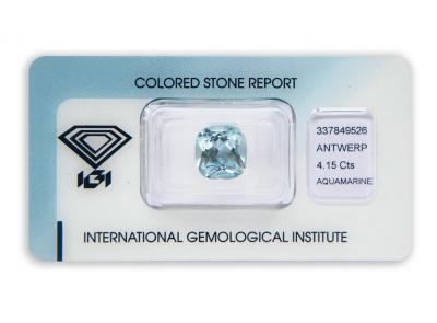 akvamarín 4.15ct blue s IGI certifikátem