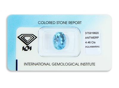 akvamarín 4.46ct deep blue s IGI certifikátem