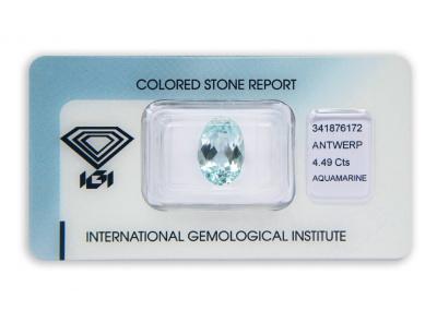 akvamarín 4.49ct blue s IGI certifikátem