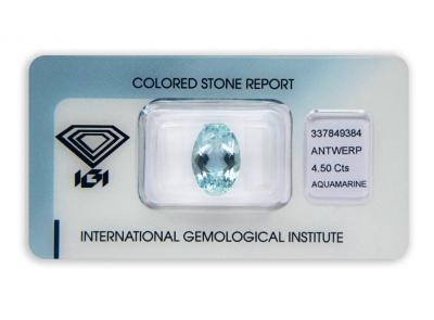 akvamarín 4.50ct blue s IGI certifikátem