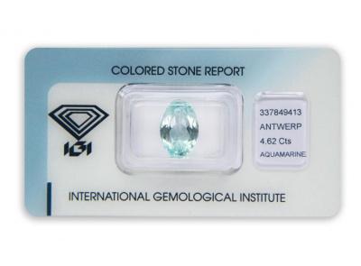 akvamarín 4.62ct blue s IGI certifikátem