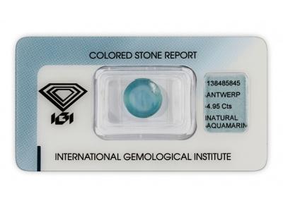 akvamarín 4.95ct blue s IGI certifikátem