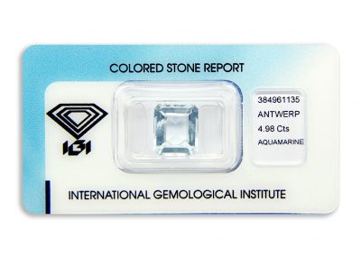 akvamarín 4.98ct greenish blue s IGI certifikátem