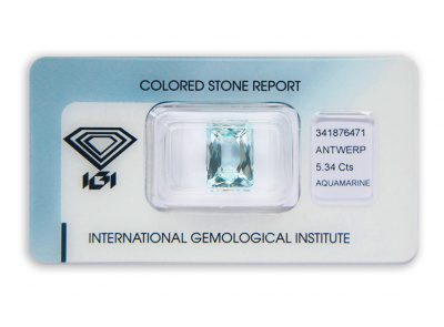 akvamarín 5.34ct light blue s IGI certifikátem