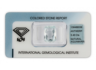 akvamarín 5.40ct very light blue s IGI certifikátem