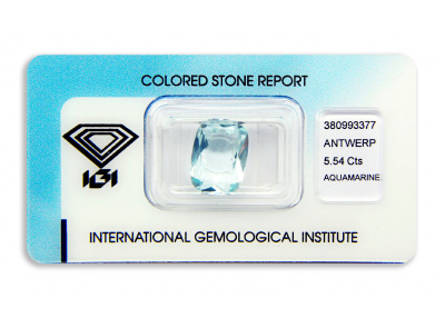 akvamarín 5.54ct light green-blue s IGI certifikátem