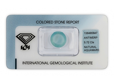 akvamarín 5.72ct light blue s IGI certifikátem