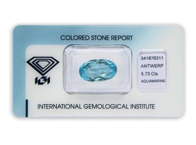 akvamarín 5.73ct blue s IGI certifikátem