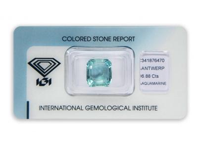 akvamarín 6.88ct greenish blue s IGI certifikátem