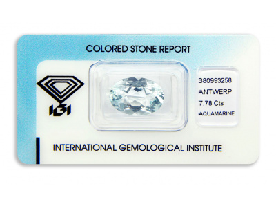 akvamarín 7.78ct light blue s IGI certifikátem