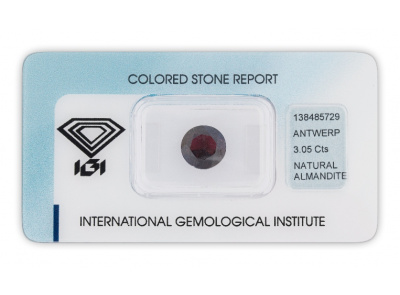 almadin 3.05ct dark purplish red s IGI certifikátem