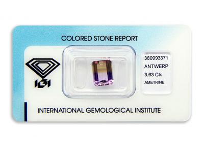 ametrín 3.63ct purple/orangy yellow s IGI certifikátem