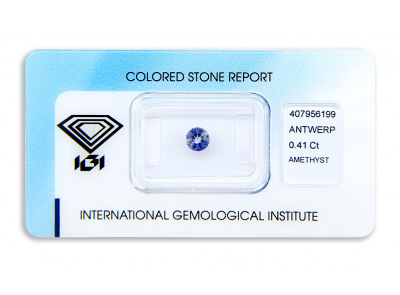 ametyst 0.41ct bluish purple s IGI certifikátem