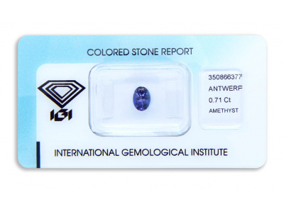 ametyst 0.71ct blue-purple s IGI certifikátem