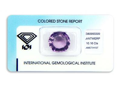 ametyst 10.16ct purple s IGI certifikátem