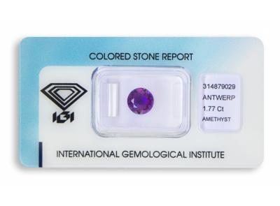 ametyst 1.77ct purple s IGI certifikátem