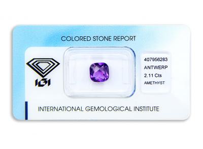 ametyst 2.11ct purple s IGI certifikátem