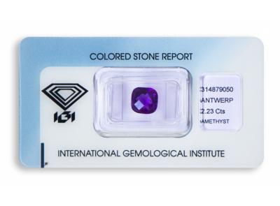 ametyst 2.23ct pinkish purple s IGI certifikátem