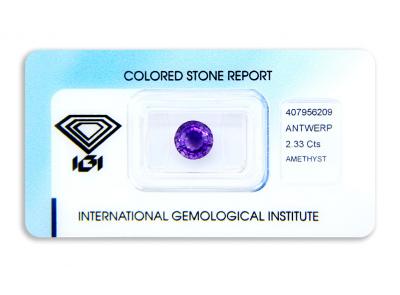 ametyst 2.33ct deep purple s IGI certifikátem