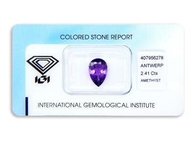 ametyst 2.41ct deep purple s IGI certifikátem