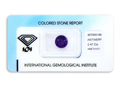 ametyst 2.47ct deep purple s IGI certifikátem