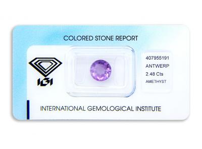 ametyst 2.48ct purple s IGI certifikátem