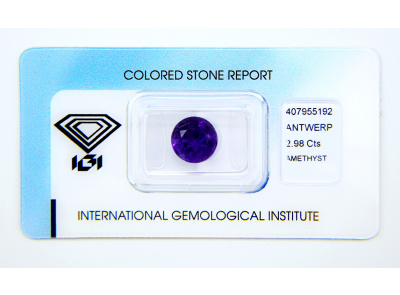 ametyst 2.98ct deep purple s IGI certifikátem