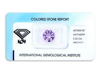 ametyst 3.02ct purple s IGI certifikátem
