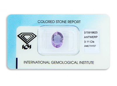 ametyst 3.11ct purple s IGI certifikátem