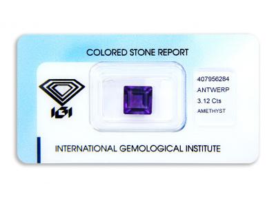 ametyst 3.12ct deep purple s IGI certifikátem