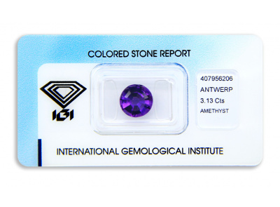 ametyst 3.13ct deep purple s IGI certifikátem