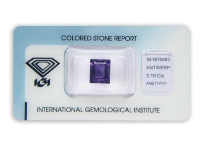 ametyst 3.19ct deep purple s IGI certifikátem
