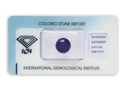 ametyst 3.41ct deep purple s IGI certifikátem