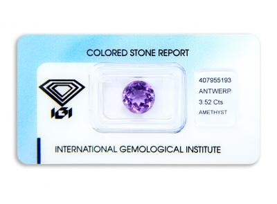 ametyst 3.52ct purple s IGI certifikátem