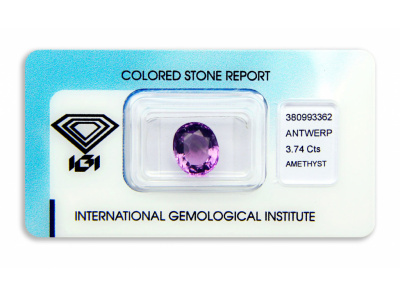 ametyst 3.74ct pink-purple s IGI certifikátem