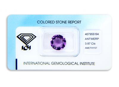 ametyst 3.87ct purple s IGI certifikátem